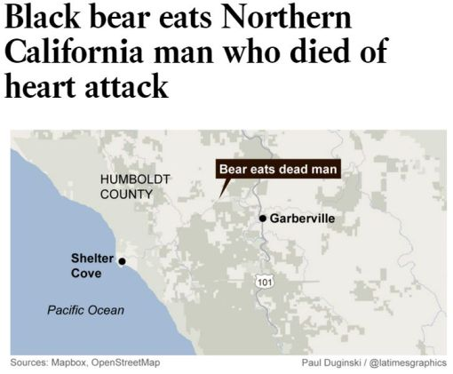 "picture of local area map with headline ""Black Bear eats Norther California man who dies of heart attack"""